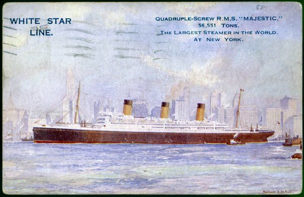 Previously the 'Bismarck', German-built passenger liner of the White Star Line, at this time the largest steamer in the world, pictured at New York