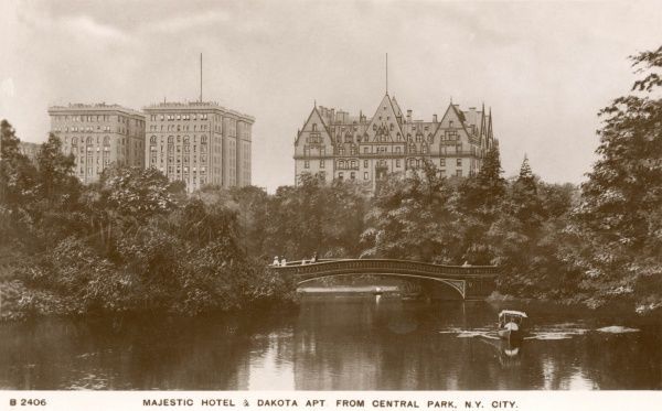 Majestic Hotel and Dakota Apartments from Central Park, New York City, America
