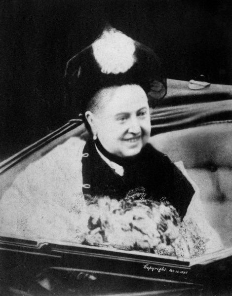 A rare photograph of a smiling Queen Victoria taken in 1898 at the age of 79 during her Jubilee celebrations. Date: 15th February 1898