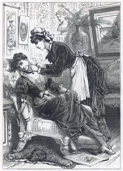 A maid uses a hypodermic needle to put colour in her mistress's cheeks