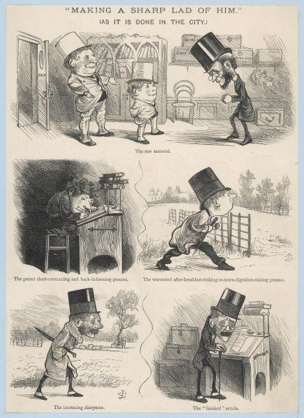 "Victorian satire depicting the entry of a young man as an office clerk & the 'finished article', as an old man with a crooked back (""Making a sharp lad of him"")"