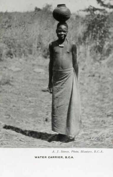 Malawi, Blantyre (Mandala) (British Central Africa) - Young female Water Carrier Date: circa 1920