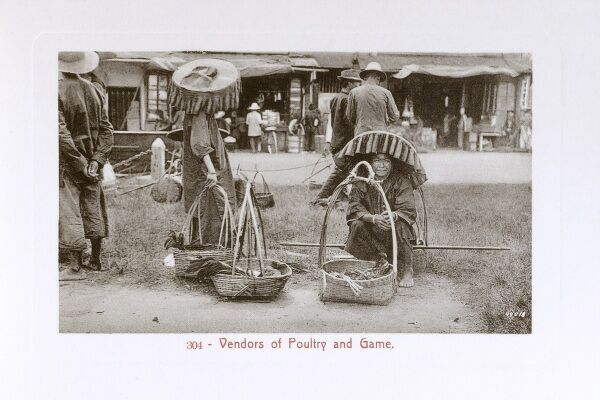 Malaysia - Kuala Lumpur - Poultry or game vendors Date: circa 1910s