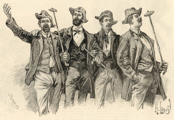 Four men link arms and sing to their heart's content. They are all smartly dressed in waistcoats and jackets, and wear tricorne hats