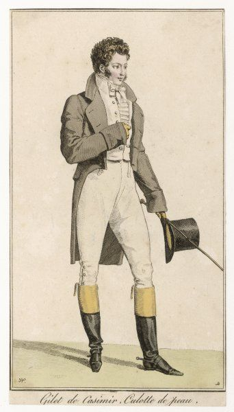 Double-breasted cut-away coat worn open to reveal a white waistcoat with stand collar, shirt frill & white stock, leather breeches with falls, top boots, spurs & top hat