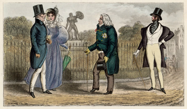 Celebrities in the park: Duke of Wellington, Mrs Arbuthnot, Prince Talleyrand, and Count d'Orsay