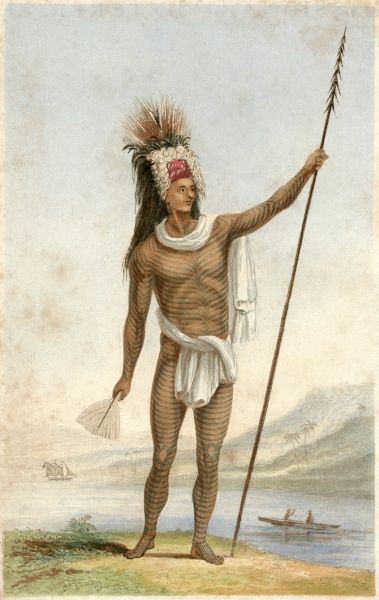 The 'noble savage' type: Te-Po, a chief of Rarotonga, with extensive tattoos and carrying a spear