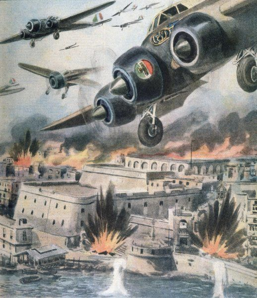 Malta : Italian bombers attack the island, a strategic target which is subjected to intense bombardment but manages to survive