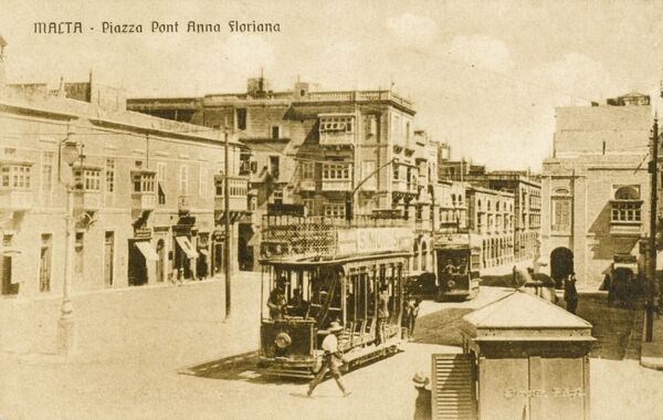 Malta - Piazza Pont Anna Floriana with two open-sided, trams