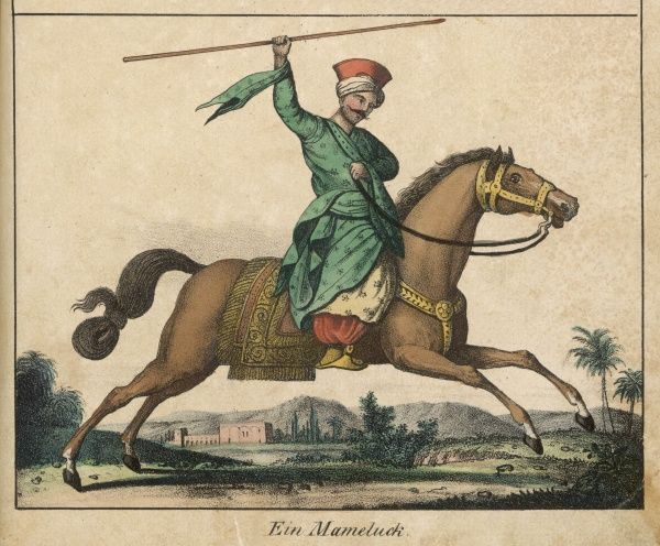 Mameluke warrior on horseback, preparing to strike with a spear
