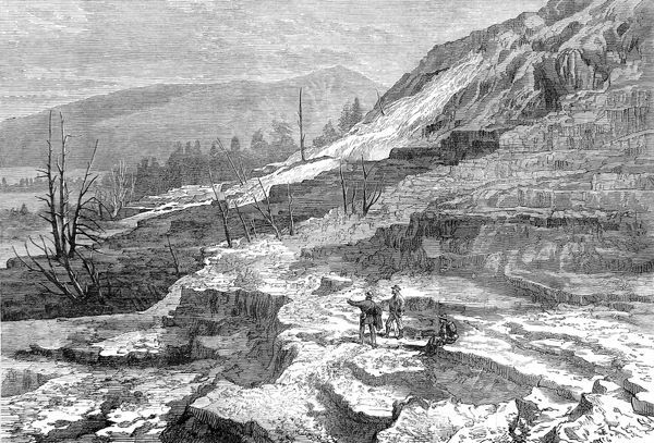 Engraving showing several tourists at Mammoth Hot Springs, Gardiner's River, Yellowstone National Park, 1874. In March 1872 President Grant made Yellowstone a National Park, '...for the benefit and enjoyment of the people.&#39