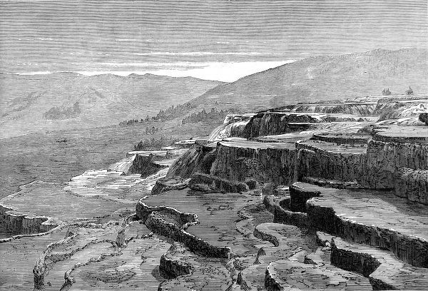 Engraving, made from a photograph taken by Mr Serjeant Sleigh, of the Mammoth Hot Springs, Gardiner's River, Yellowstone, 1874. In March 1872 President Grant made Yellowstone a National Park, '...for the benefit and enjoyment of the people
