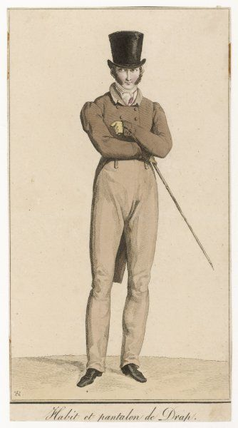 Top hat, cravat, light brown pantaloons with falls, brown double-breasted coat cut away at the front, small collar & sleeves padded & gathered at the shoulder & buttoned cuffs