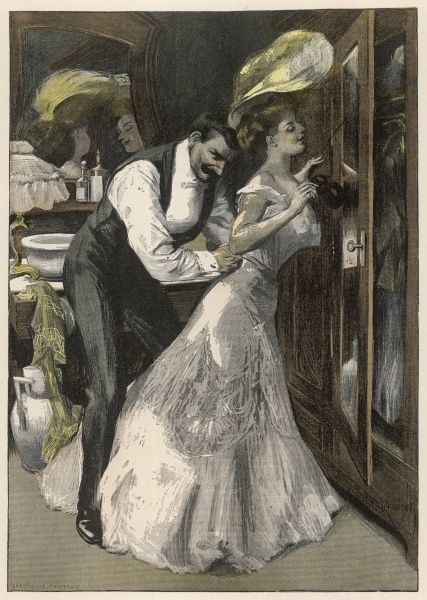 A man helps his wife to dress in preparation for a Ball