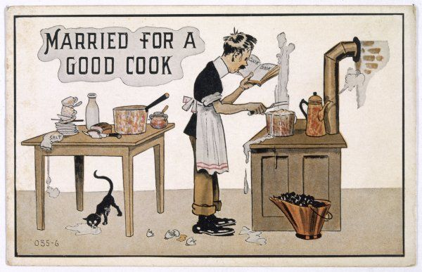 Letting your husband loose in the kitchen can be very risky; here, a pot boils over, eggshells litter the floor, and the cat laps spilt milk