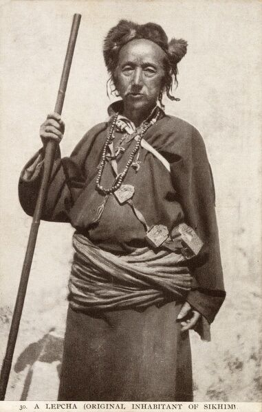 "A man of the Lepcha or Rong people, also called Rongkup (the word Lepcha translates as ""Children of the Rong"") - the aboriginal people of Sikkim, India who number between 30,000 and 50,000"