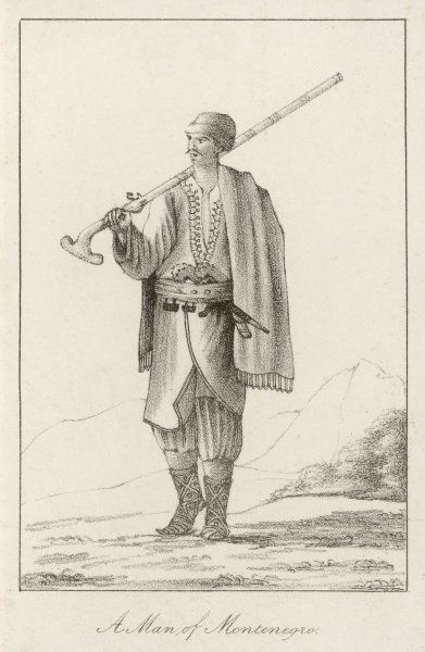 Costume of a man, armed with gun and dagger