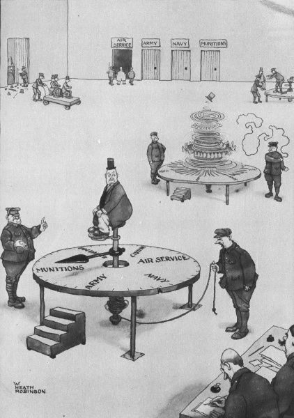 A perfectly impartial way of dealing with doubtful cases at the recruitment office. Bemused individuals are placed upon a roulette wheel in order to decide their future in Britain's army. Please note: Credit must appear as Courtesy of the Estate of Mrs J