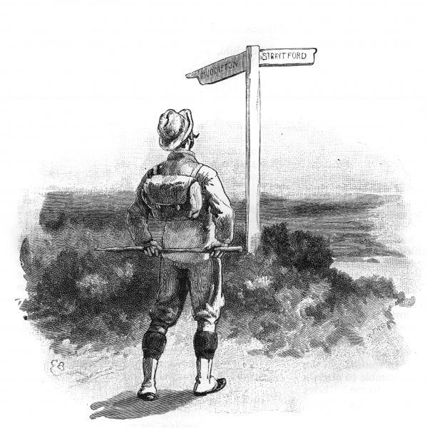 A walker contemplates the signpost, unable to decide whether to make for a meal at Middleton or settle for a snack at Straitford. Date: 1893