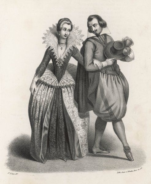An elegant couple of Henri IV's time - she in a high lace ruff and extraordinary farthingale, he in equally remarkable breeches of unsurpassed bagginess !