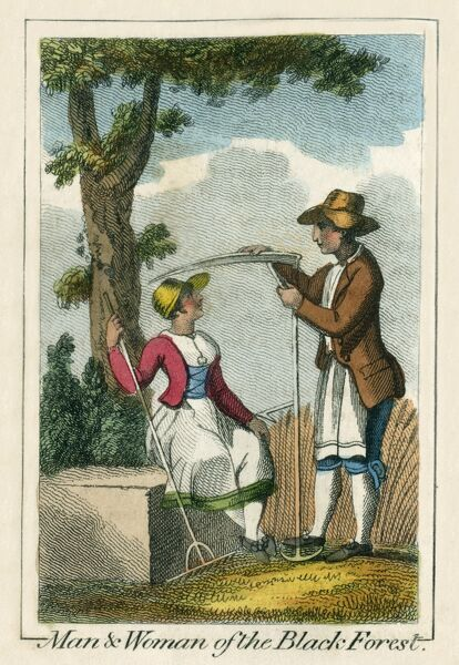 A man and woman of the Black Forest preparing for the harvest. A book of national types and costumes from the early 19th century