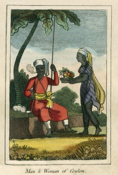 A man and woman of Ceylon (Sri Lanka). A book of national types and costumes from the early 19th century