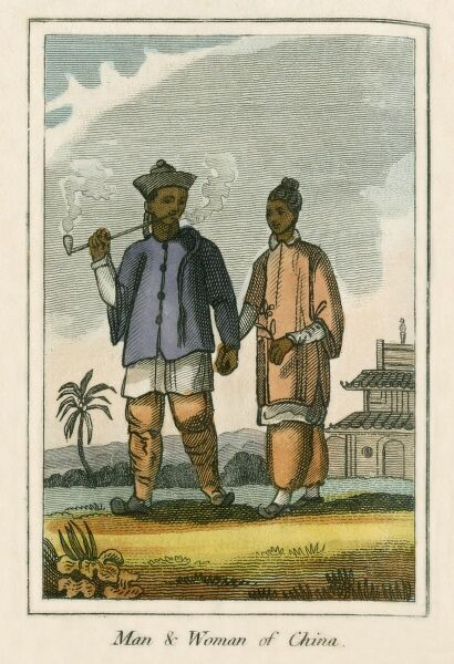 A man and woman from China. A book of national types and costumes from the early 19th century