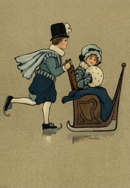 Man and woman on the ice -- he is wearing skates, pushing her along in a chair