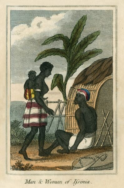 Man and Woman of Issinia, Upper Guinea, West Africa. A book of national types and costumes from the early 19th century