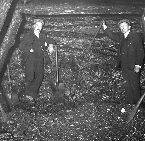 The General Manager and Manager of Baldwin's Level, Pontypool, South Wales, photographed in a mineshaft