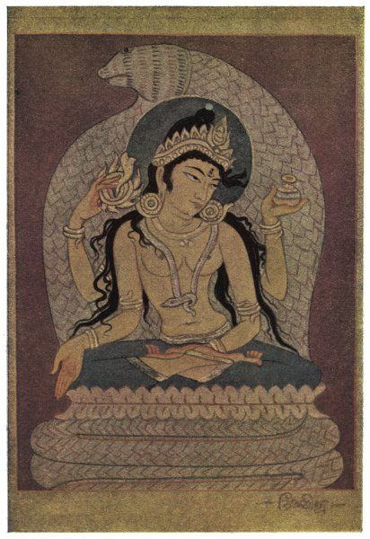 Manasa Devi (Padma), the Goddess of snakes. She was the daughter of Shiva & a mortal woman