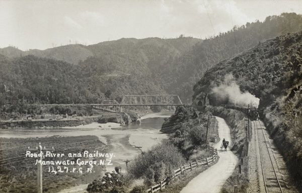 Road, river and railway in the Manawatu Gorge in New Zealand