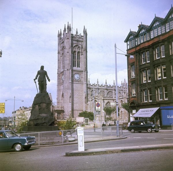 Manchester Cathedral, Lancashire, England. The present cathedral dates from 1215. It was damaged during World War Two air raids and by an I.R.A. bomb in 1996. Date: 1967