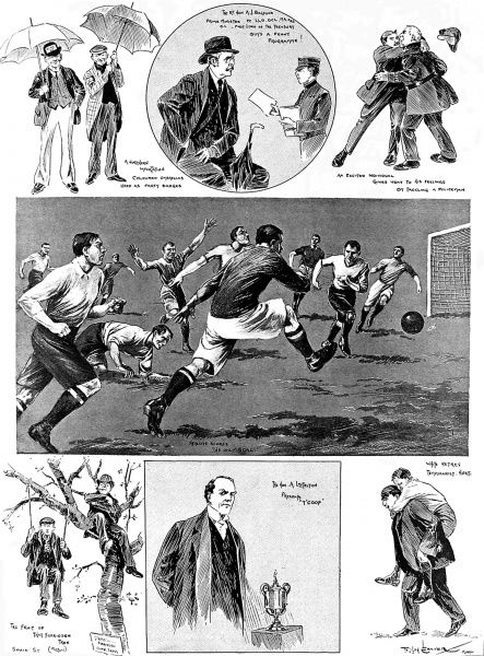 Series of illustrations from the Manchester City vs. Bolton Wanderers F.A. Cup Final at the Crystal Palace ground, London, 23rd April 1904. Billy Meredith can be seen scoring the only goal of the game for Manchester in the centre image. The other images show