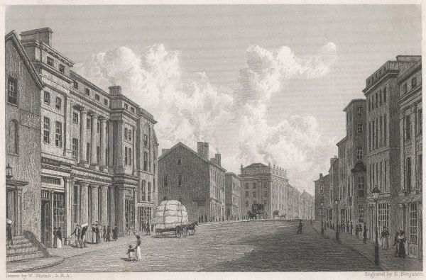 Manchester: a street scene with cotton wagon