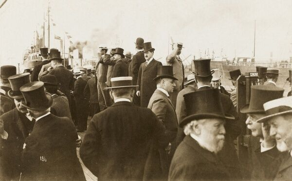 Dignitaries and guests on the quayside, following the opening of a new dock on the Manchester Ship Canal - built between 1887 and 1894 - it was (for a time) the largest navigation canal in the world