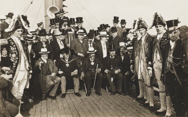 Officials and local dignitaries on the deck of a steamship at the opening of a new dock for the Manchester Ship Canal - built between 1887 and 1894 - it was (for a time) the largest navigation canal in the world