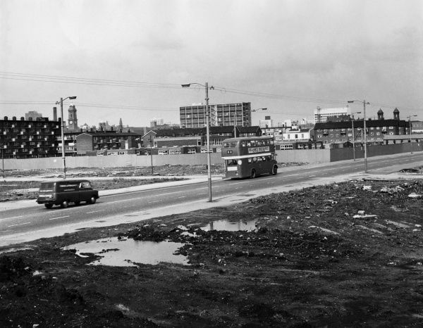 Waste land in Manchester, England long before it was redeveloped into the cosmopolitan city it is today. Date: 1960s