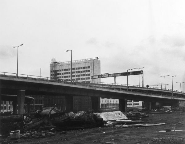 The newly-built 'Manchunian Way' flyover, Manchester, England, part of the M6 motorway network. Date: 1960s