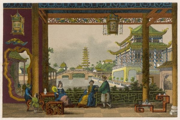A Chinese Mandarin's palace - interior court, terrace and garden with pool