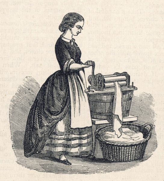 Engraving of a woman using a mangle to squeeze excess water out of washed clothes