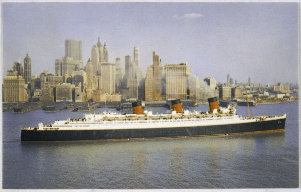 The Cunard liner 'Queen Mary' sails out of New York