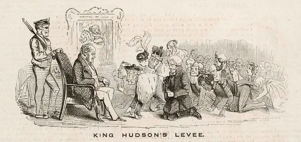 George Hudson (1800-1871), a financier known as 'King' Hudson for the dominant part he plays in the railway mania, is depicted holding a royal levee