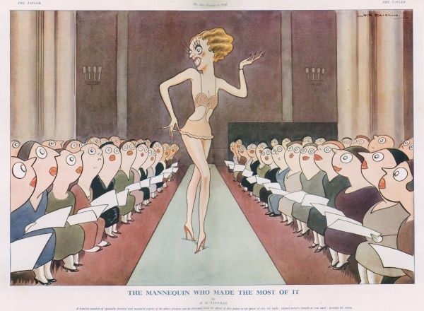 A humorous illustration showing a fashion mannequin taking to the catwalk, entrancing all the audience