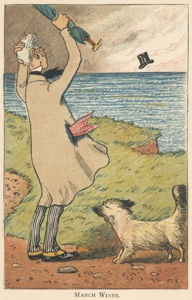 A man's top hat is blown off over a cliff on a windy day by the sea in March. He waves his rolled umbrella in annoyance, but his dog seems unconcerned