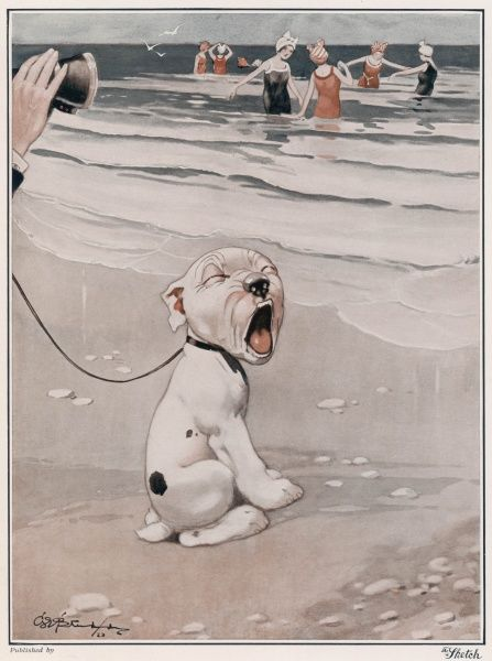 Bonzo, the comic canine creation of George Studdy, looks away in horror (or boredom) as his owner peers a little more closely with the help of a pair of binoculars at a bevy of bathing beauties at the seaside