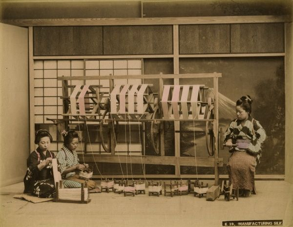 Three Japanese women working at a loom manufacturing silk Date: Late 19th Century