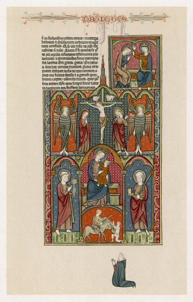 Jesus with his mother - Jesus crucified - Saint Martin de Tours - St Peter - angels - ornamenting the 'Prologos' of a 13th century English Bible