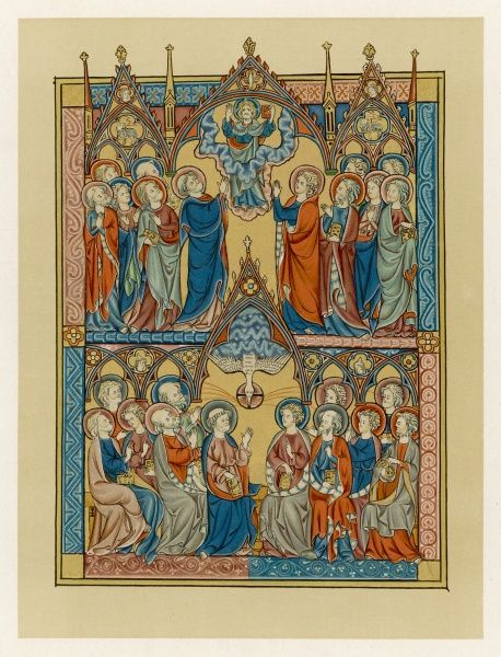 The Ascension, and Pentecost, depicted in 'Somme Le Roi' French treatise of Christian teachings