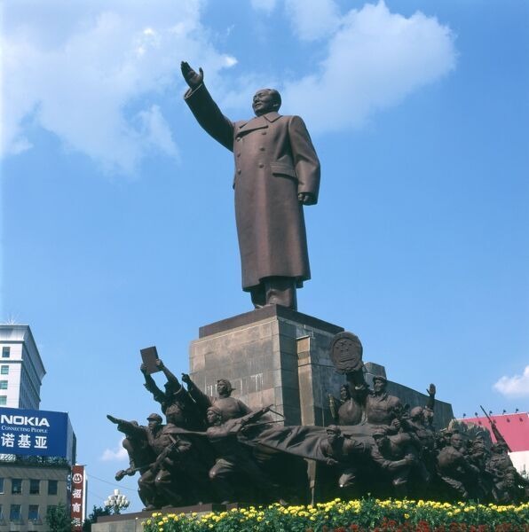 A large statue of Chairman Mao Tse Dong in Zhongshan Square (once called Red Flag Square) at Shenyang, Liaoning Province, China